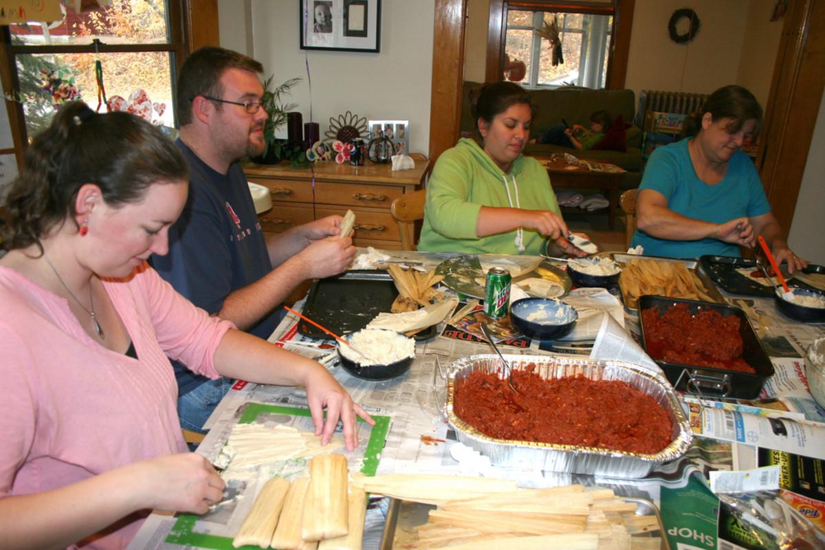 Assembling the hot tamales.