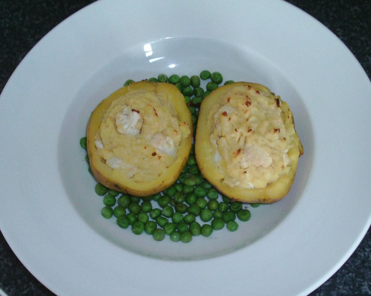 Twice baked potato cauliflower cheese on peas