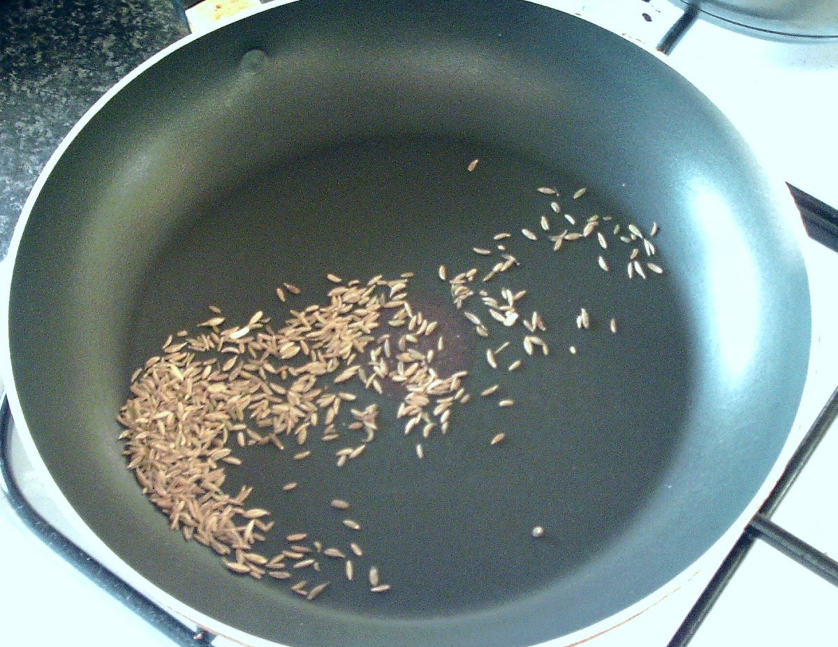 Cumin seeds are toasted