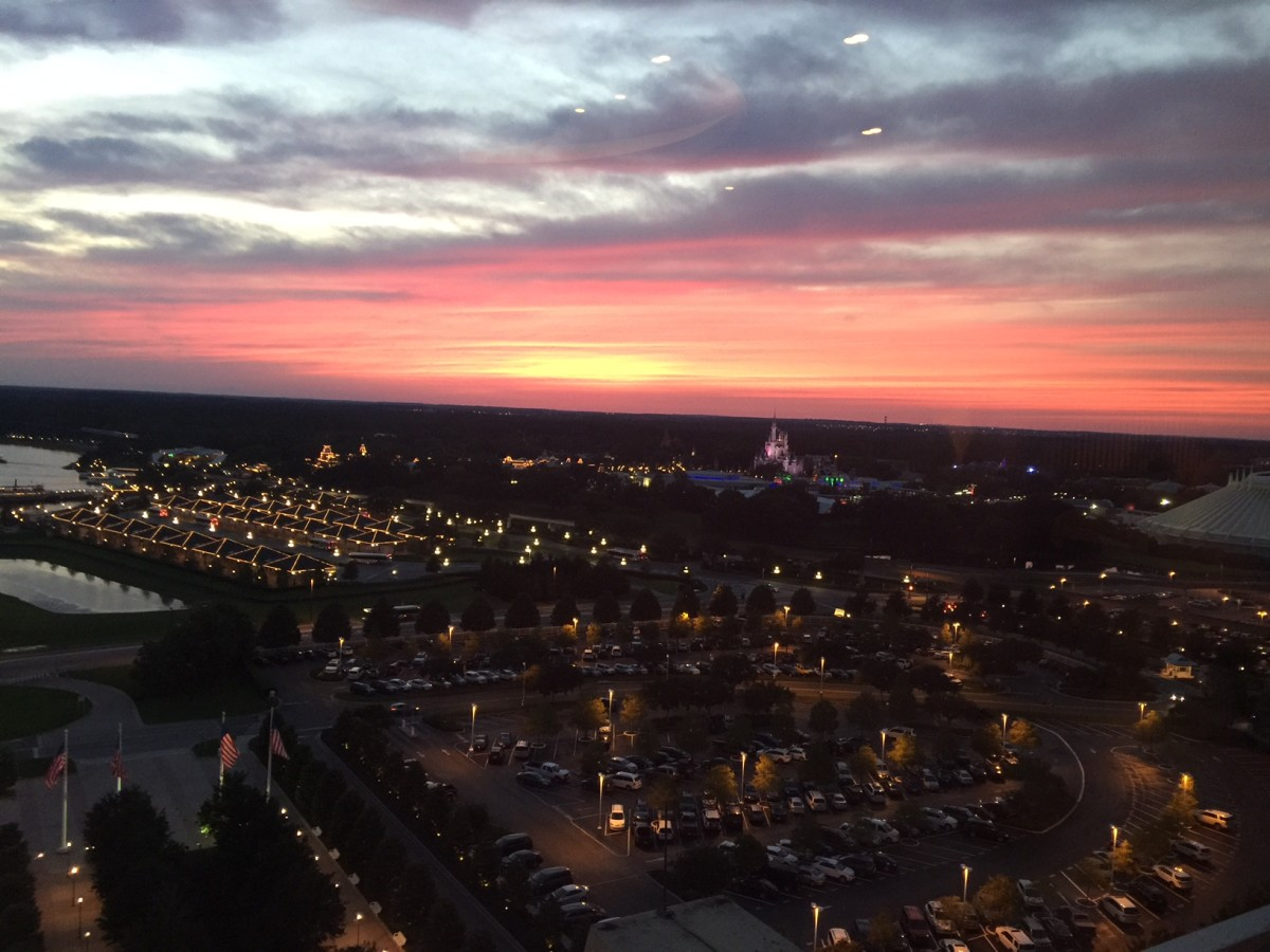 View of Magic Kingdom at sunset from the lounge at California Grill.
