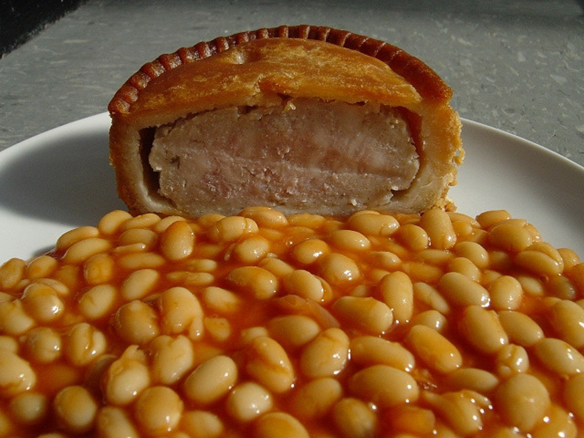 Baked beans are tasty with pork pies, but healthier with Fish Sticks (Fish Fingers)