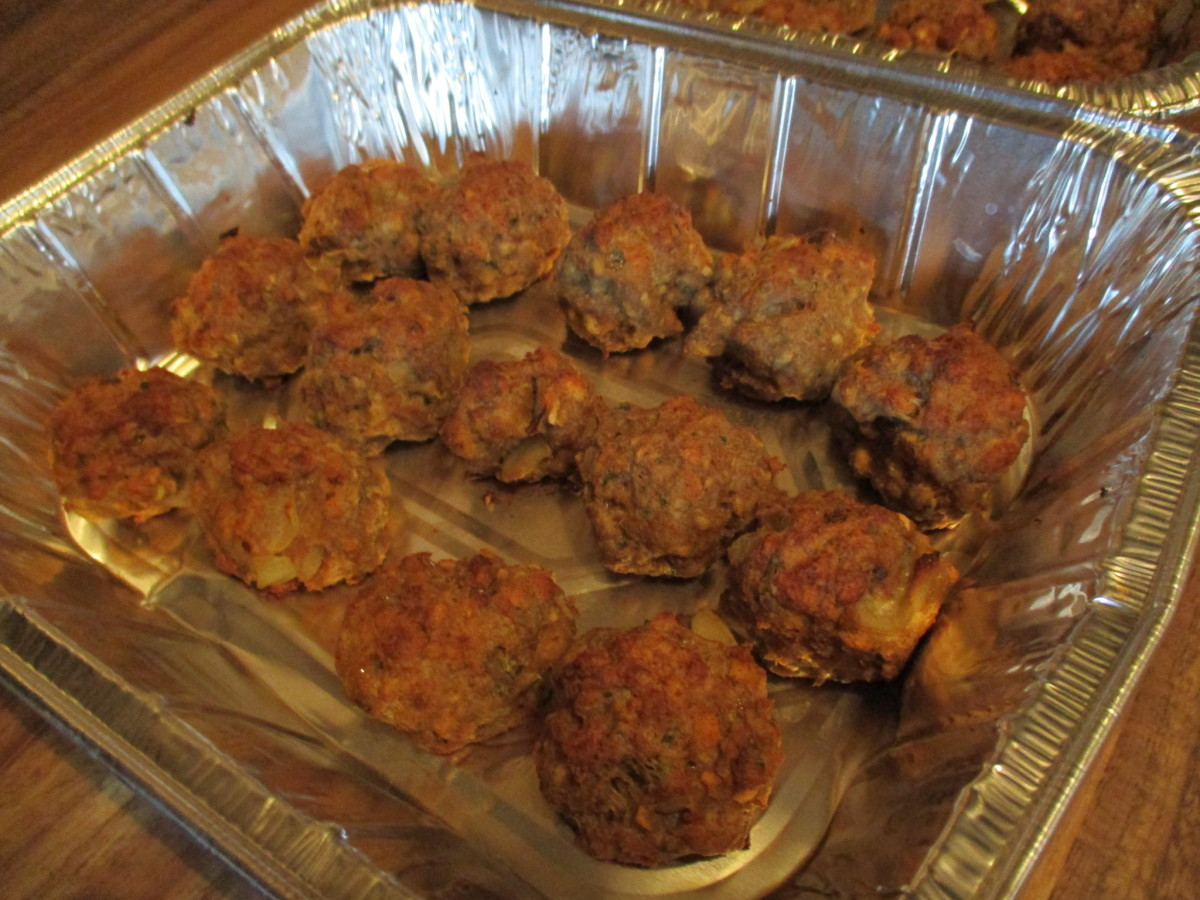 Meatballs after coming out of the oven.