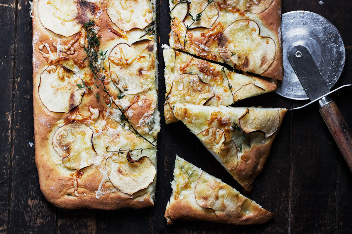 Aged cheddar and apple focaccia.