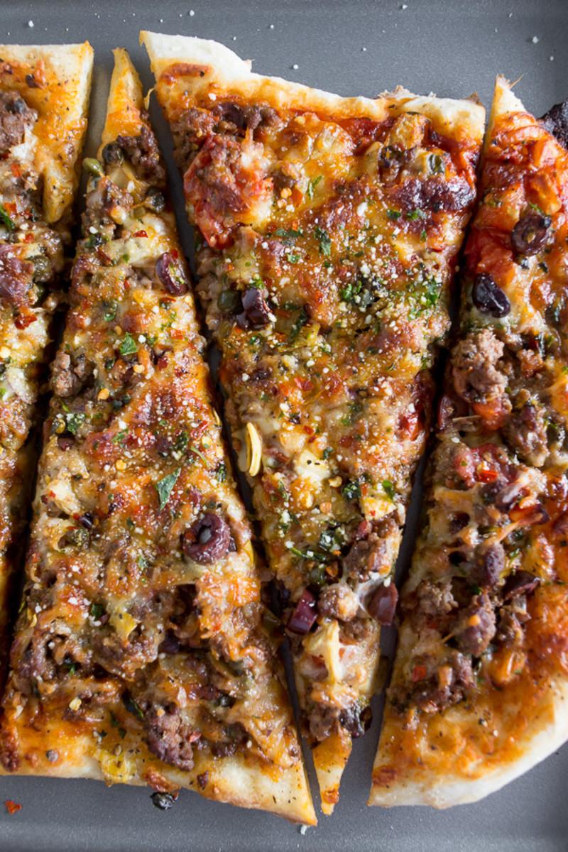 Beef puttanesca pizza.
