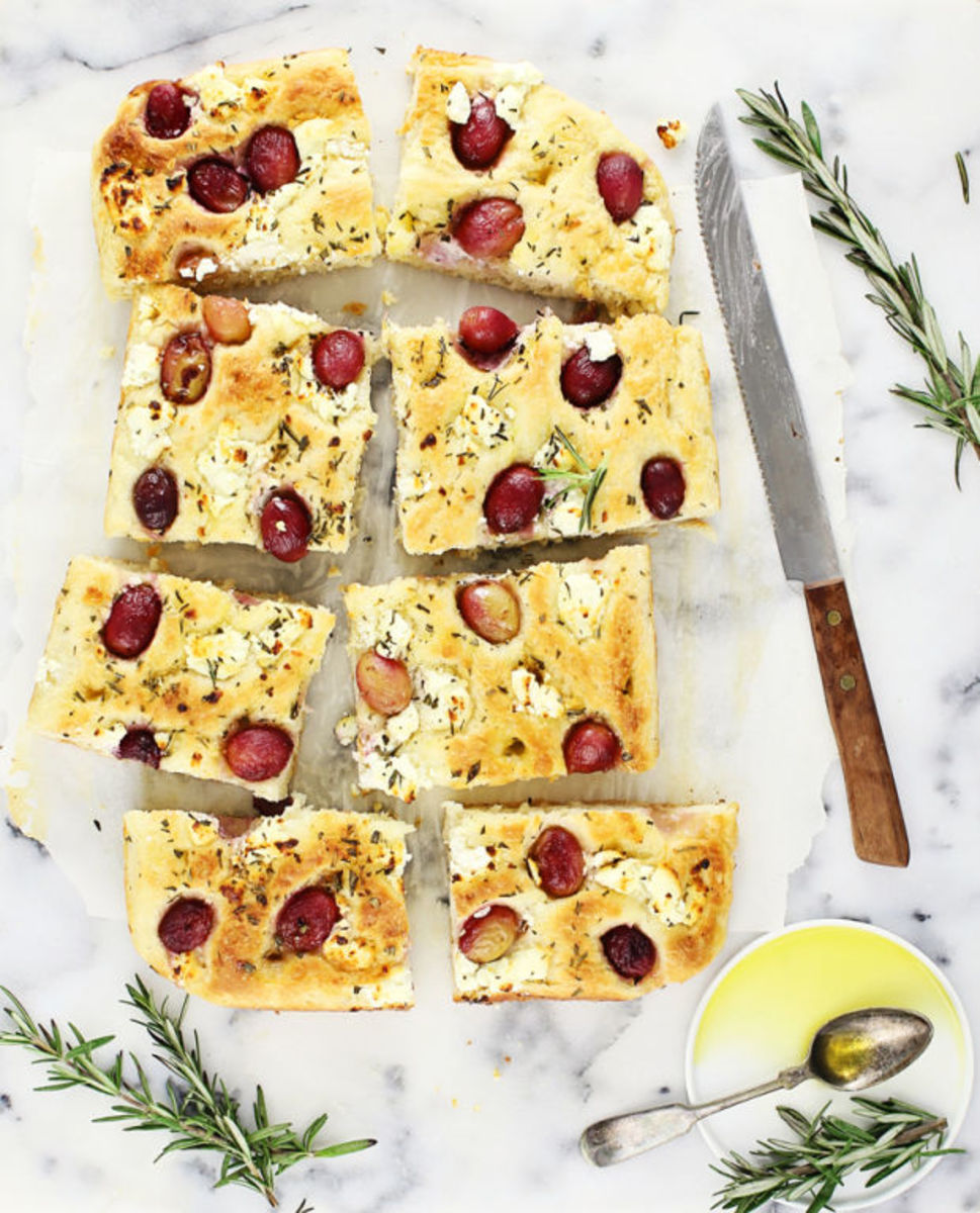 Goat cheese, grape, rosemary focaccia