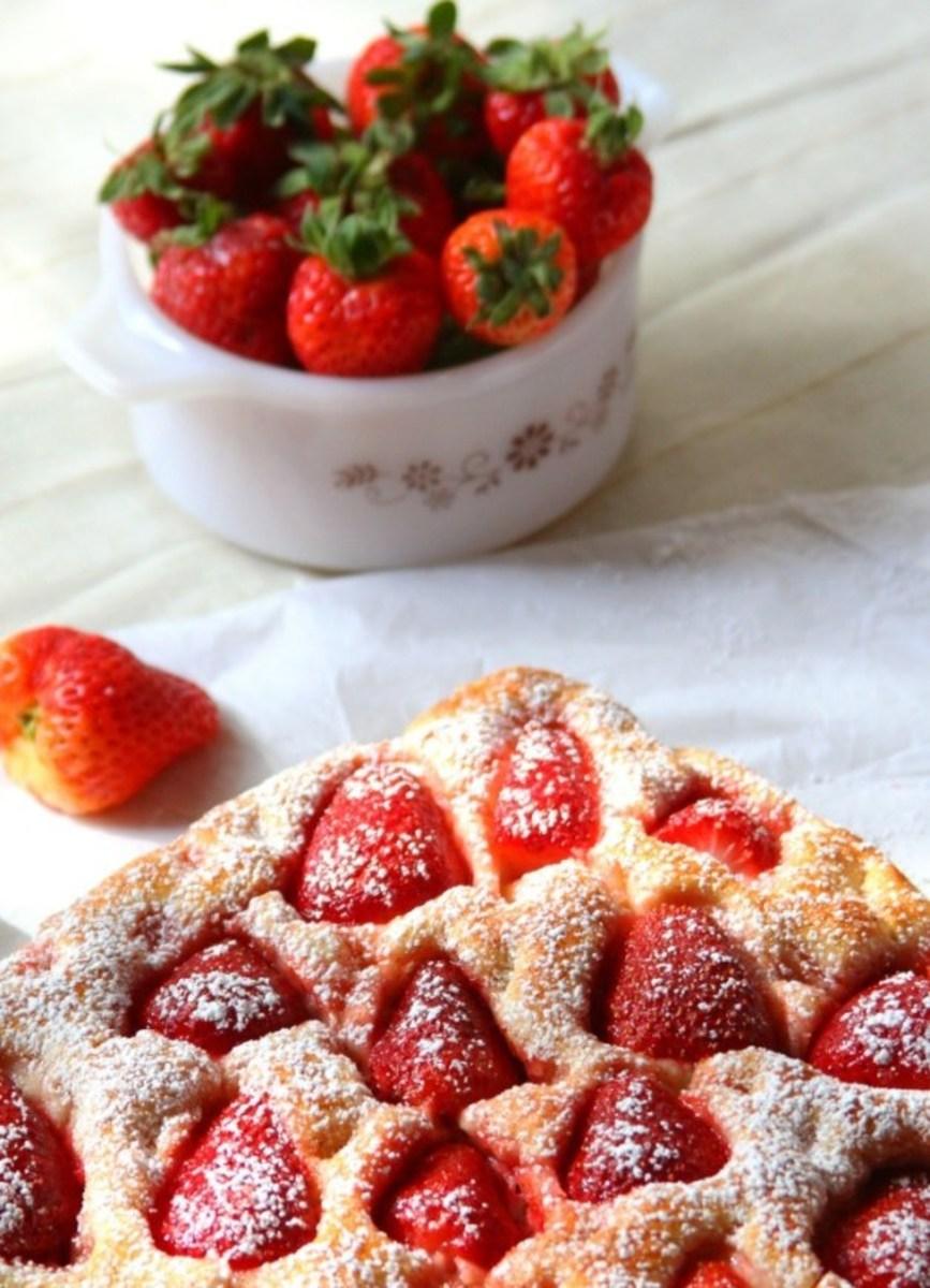 Strawberry focaccia bread with cinnamon sugar.