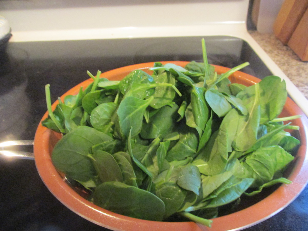 Spinach, before wilting.