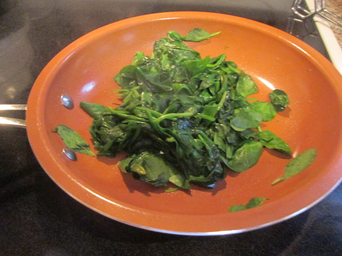 Spinach, after wilting.