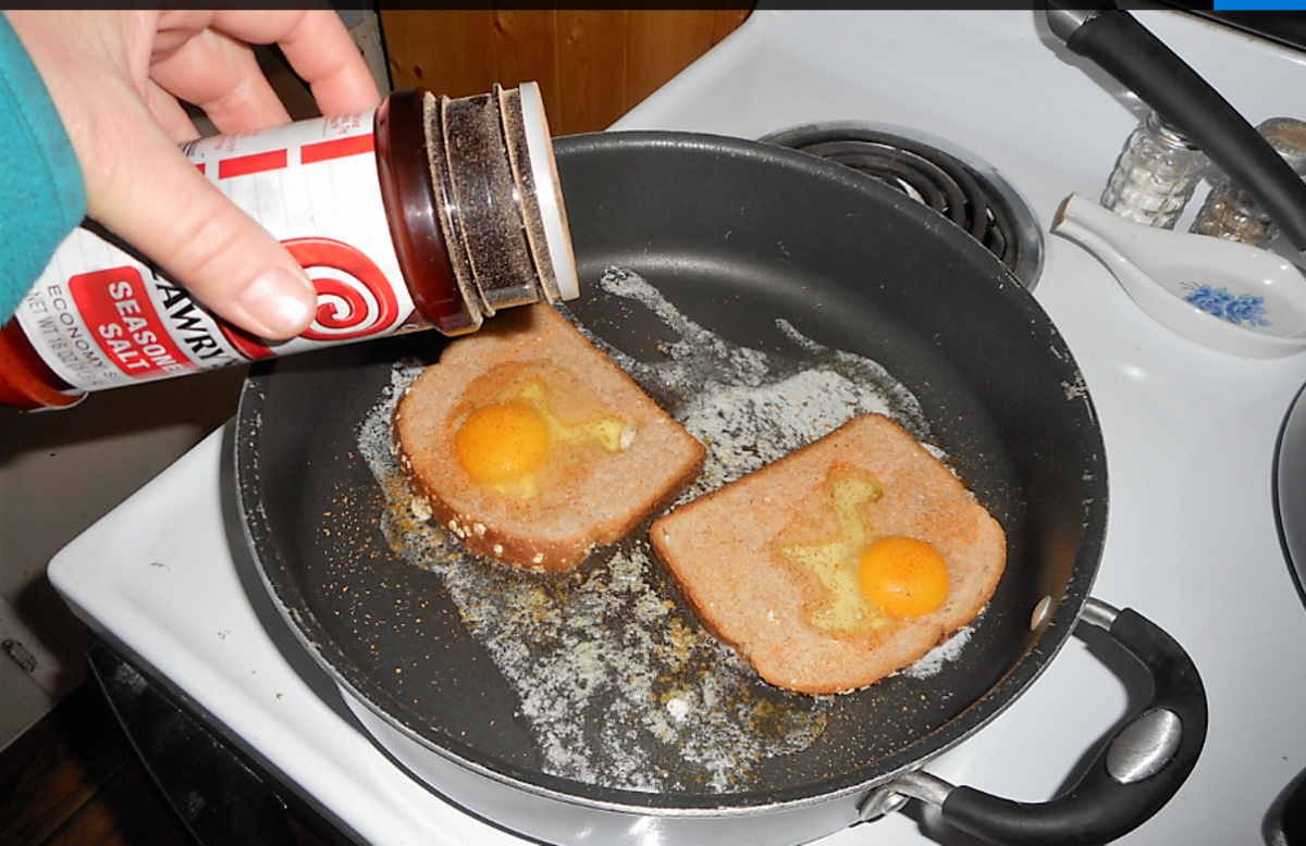 Sprinkle some seasoned salt on each egg.