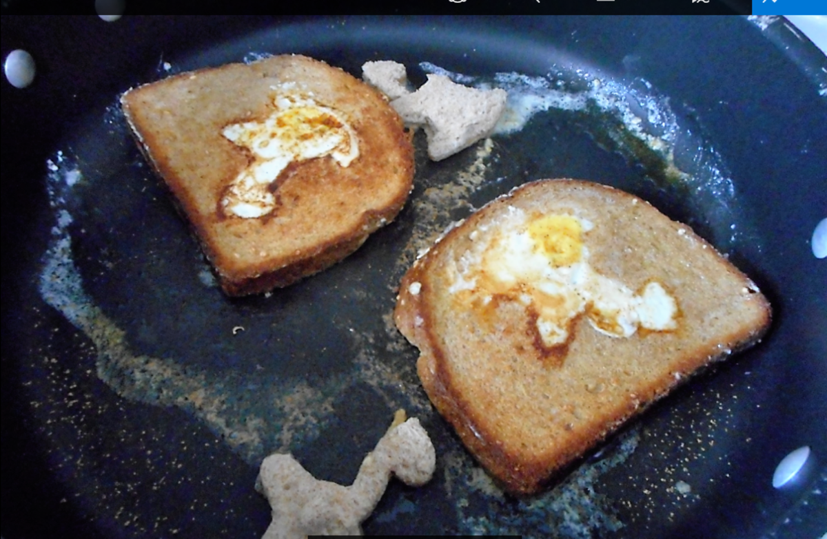 If the butter on the toast shows browning, it's time to flip the entire piece over and cook the other side.