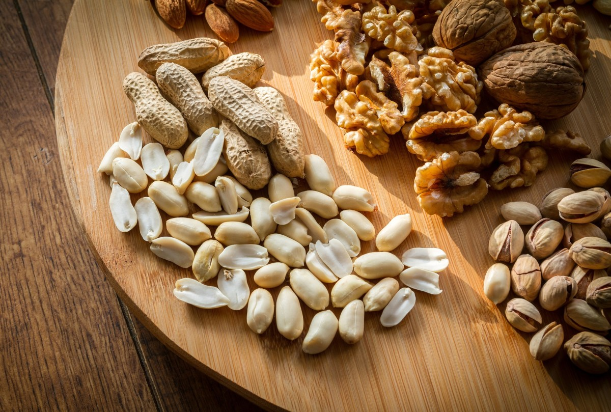 an assortment of mixed nuts