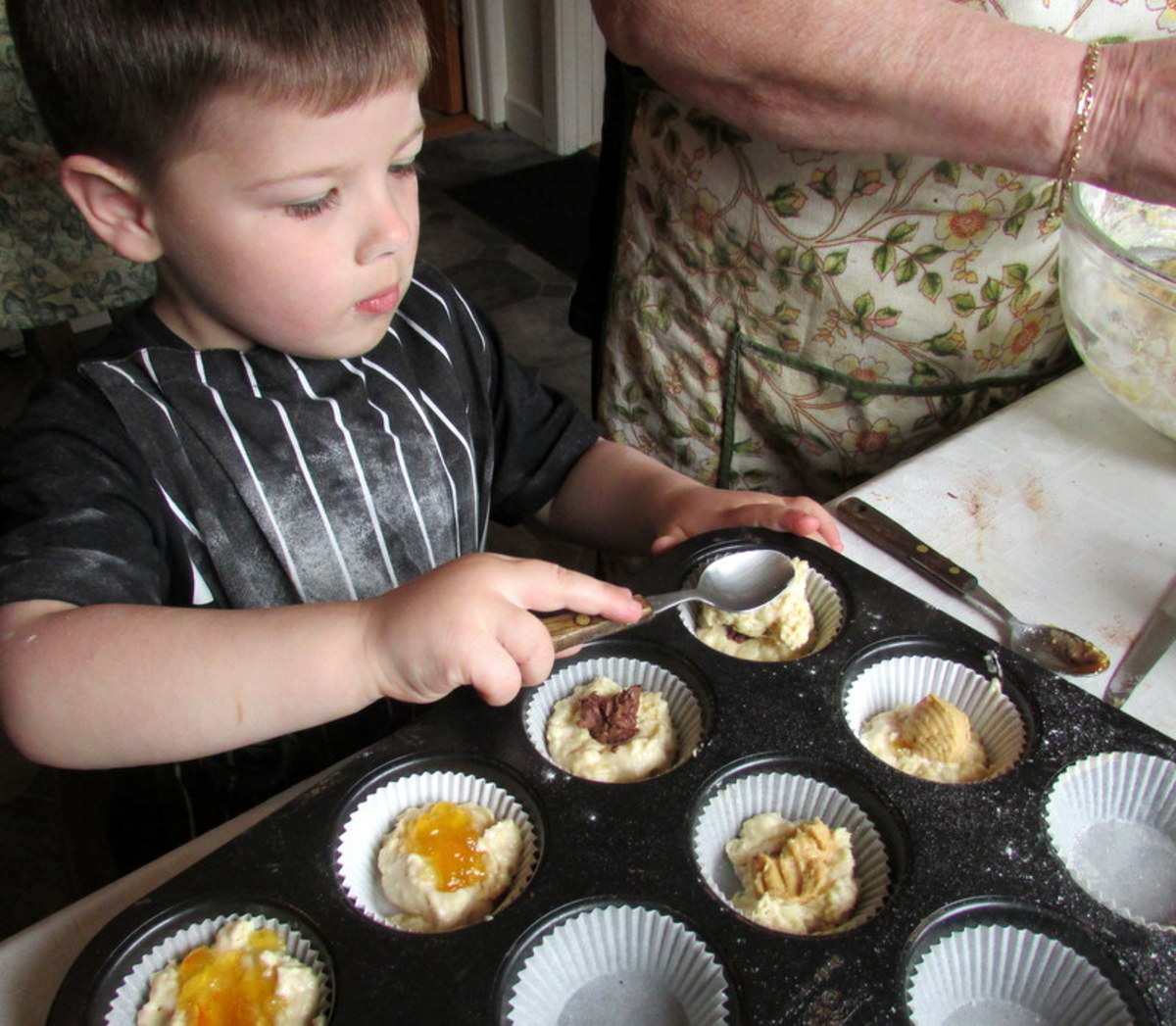 Adding optional extra flavours to the homemade muffins.