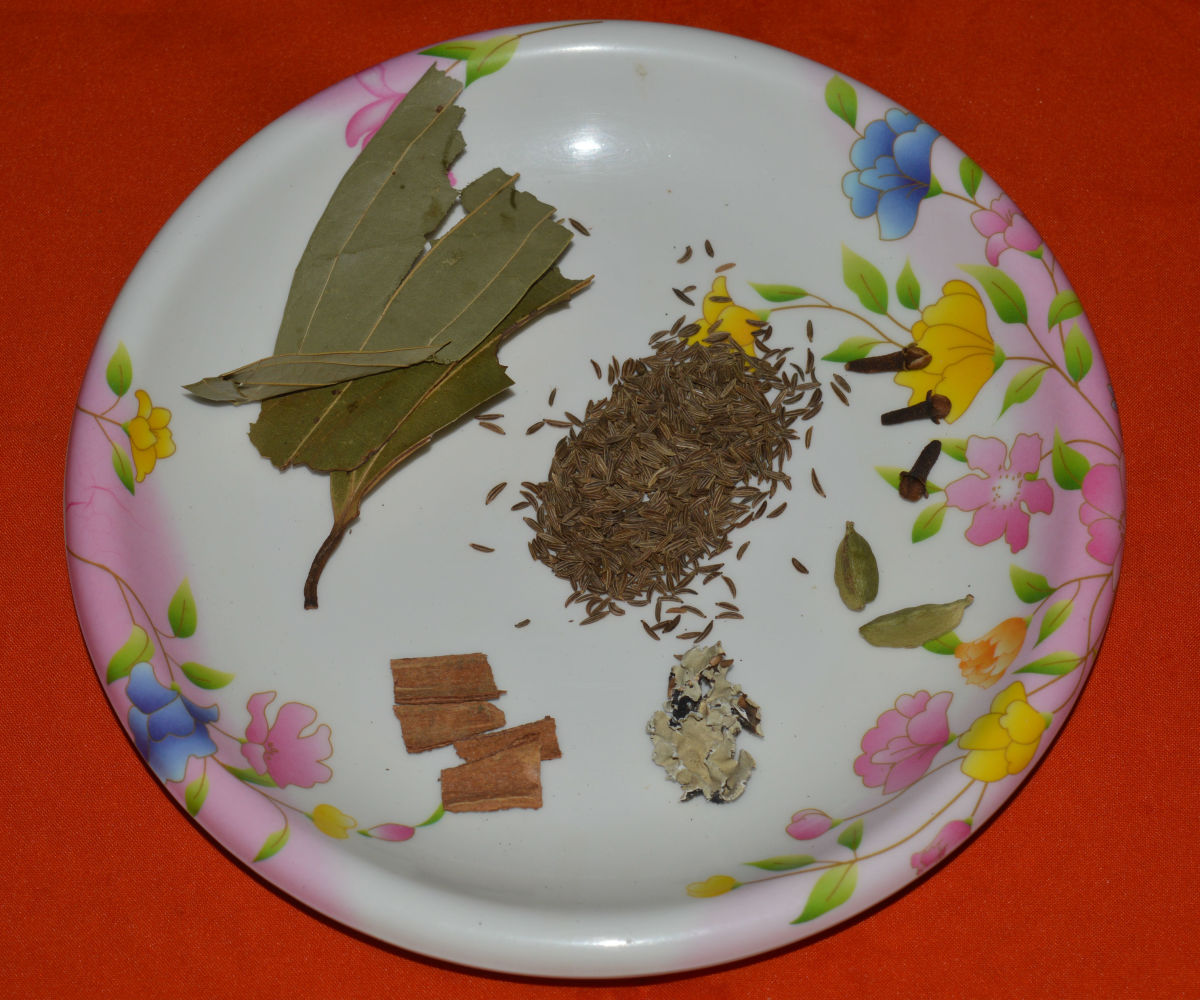 Spices used in the making of vegetable biryani