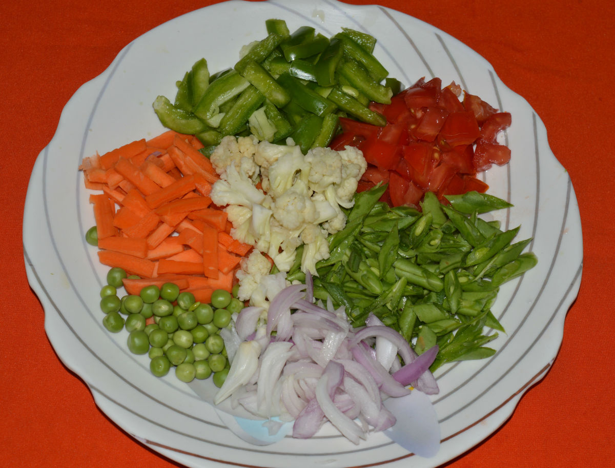 Vegetables chopped and kept ready