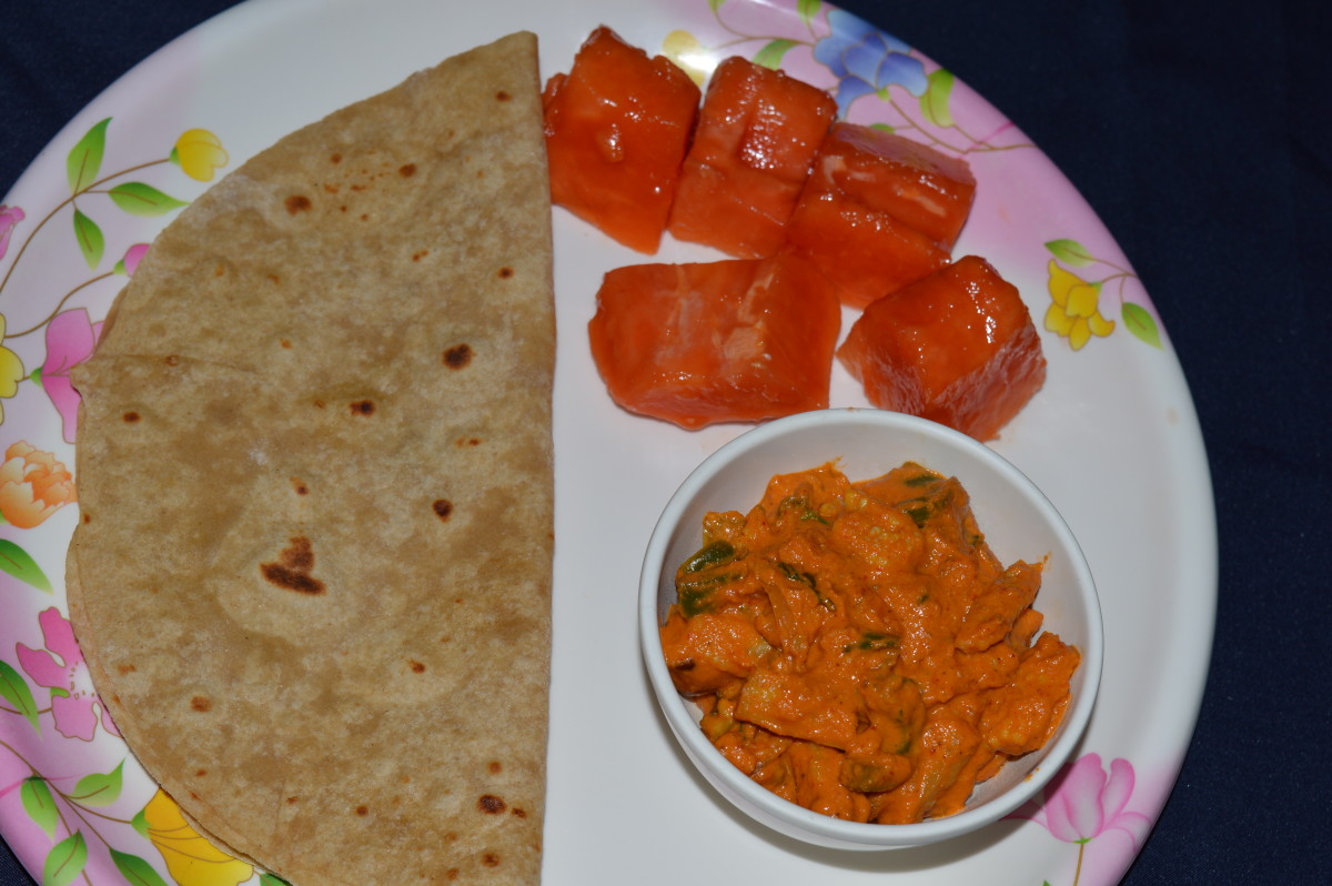 A chapati served with the curry