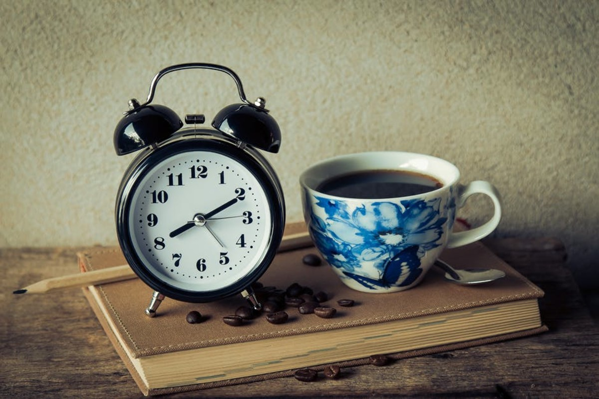Coffee and alarm clock, a perfect wake up call. coffee and alarm clock.