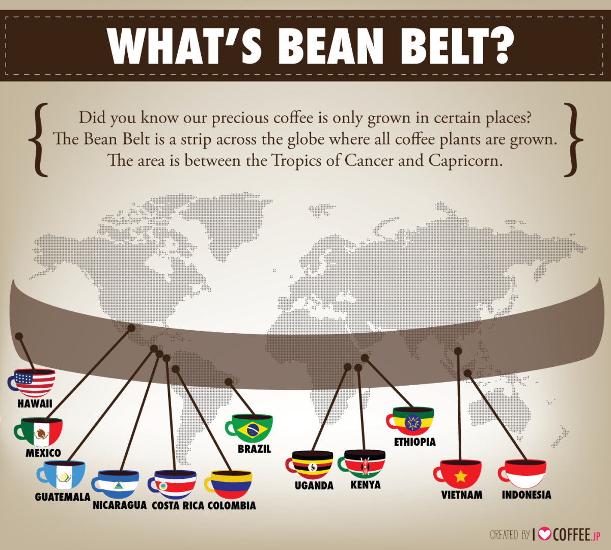 Where does coffee grow? The Bean Belt.