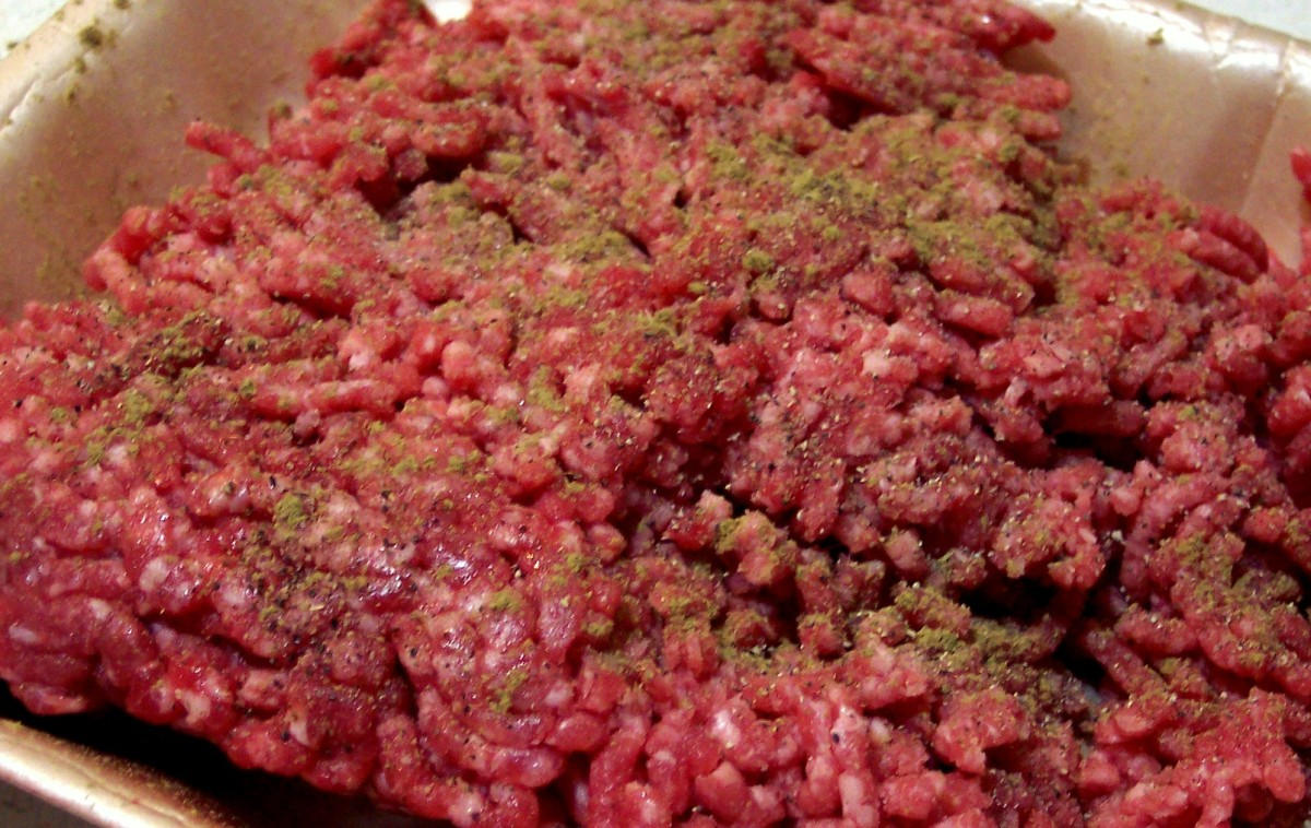 Use hands or fork to work in the salt, pepper, and any herb or spice into the ground meat.
