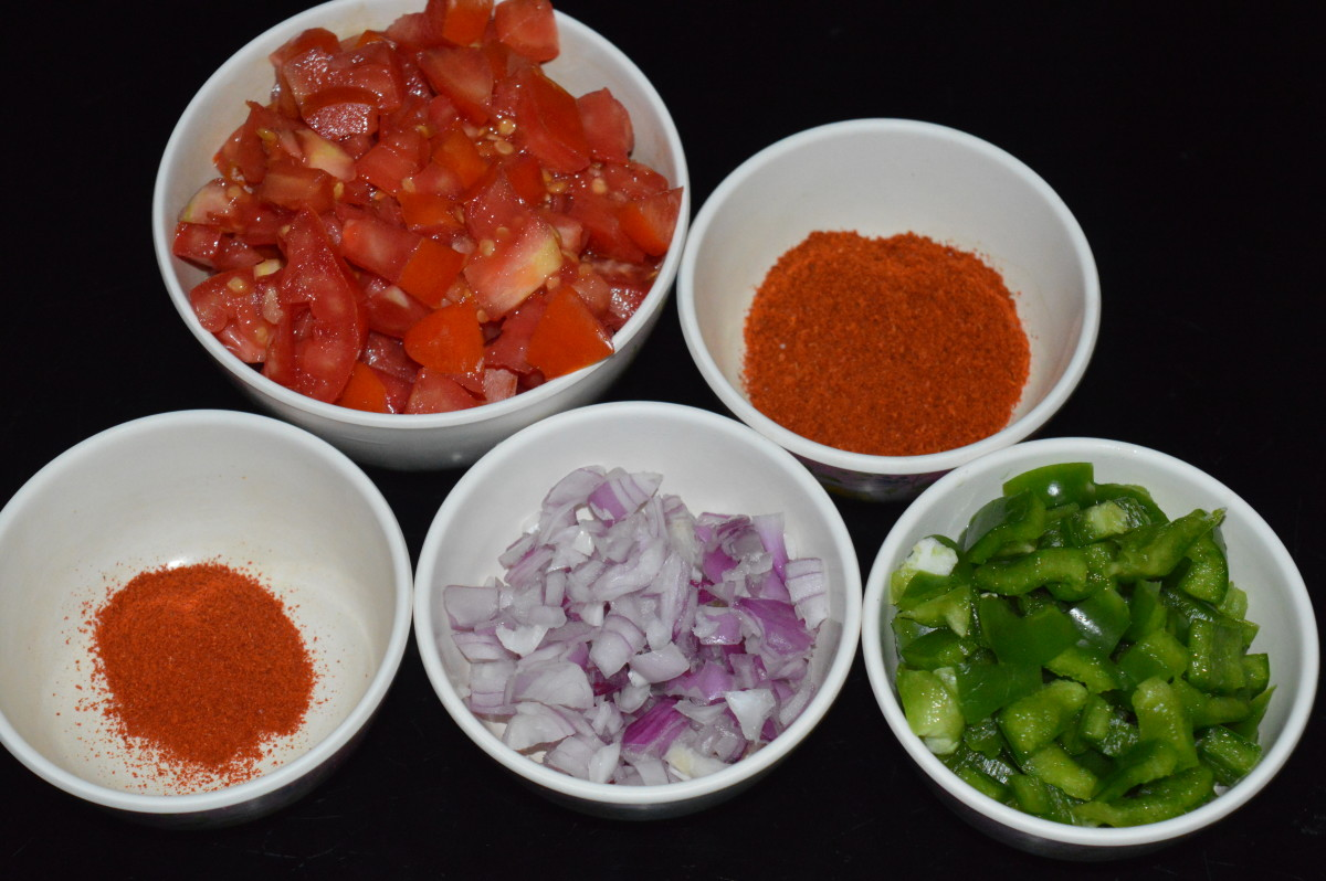 Chopped vegetables and spices.
