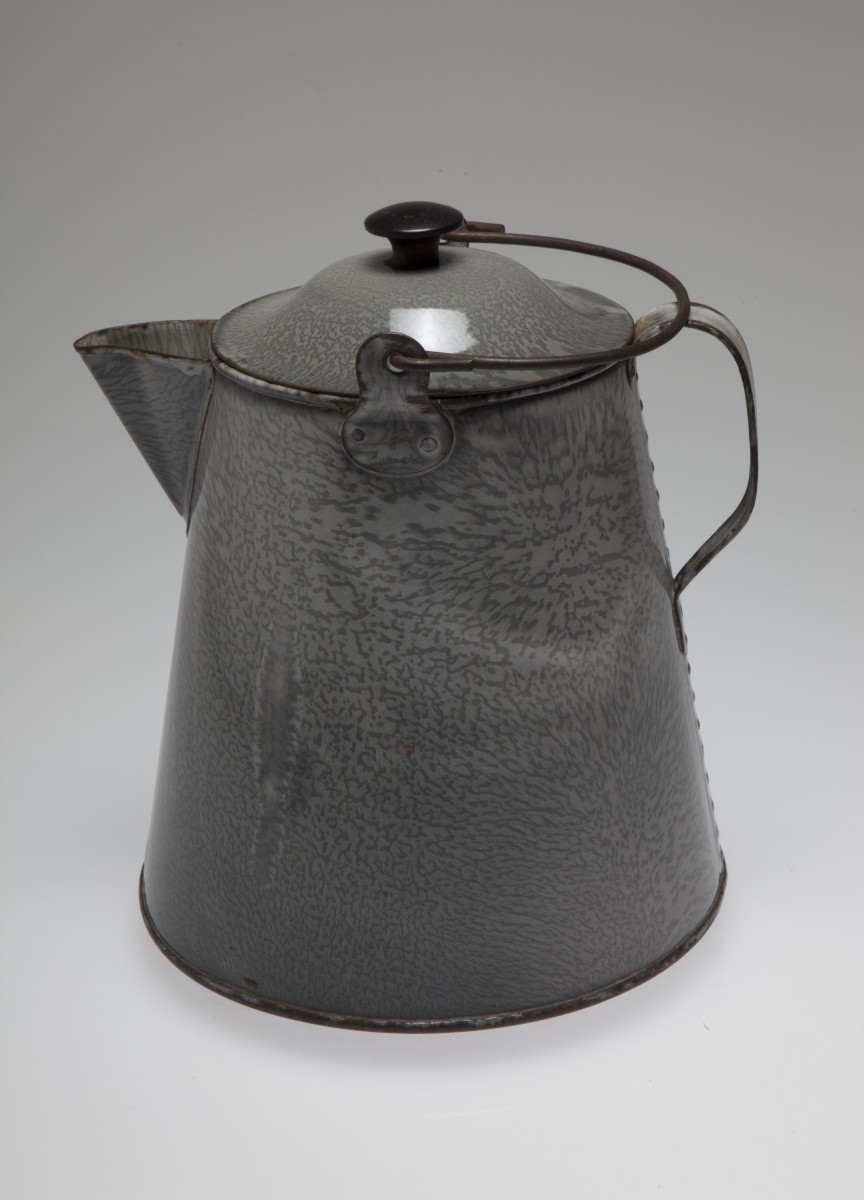 Granite ware coffee pot produced by the St Louis Stamping Company