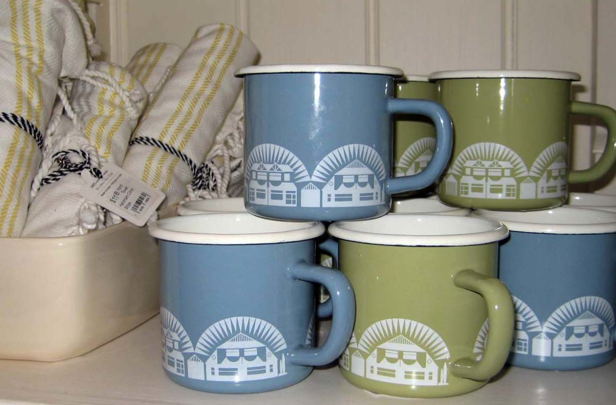New enamelware mugs on display.