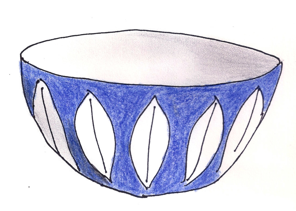 Cathrinehom bowl in blue Lotus design