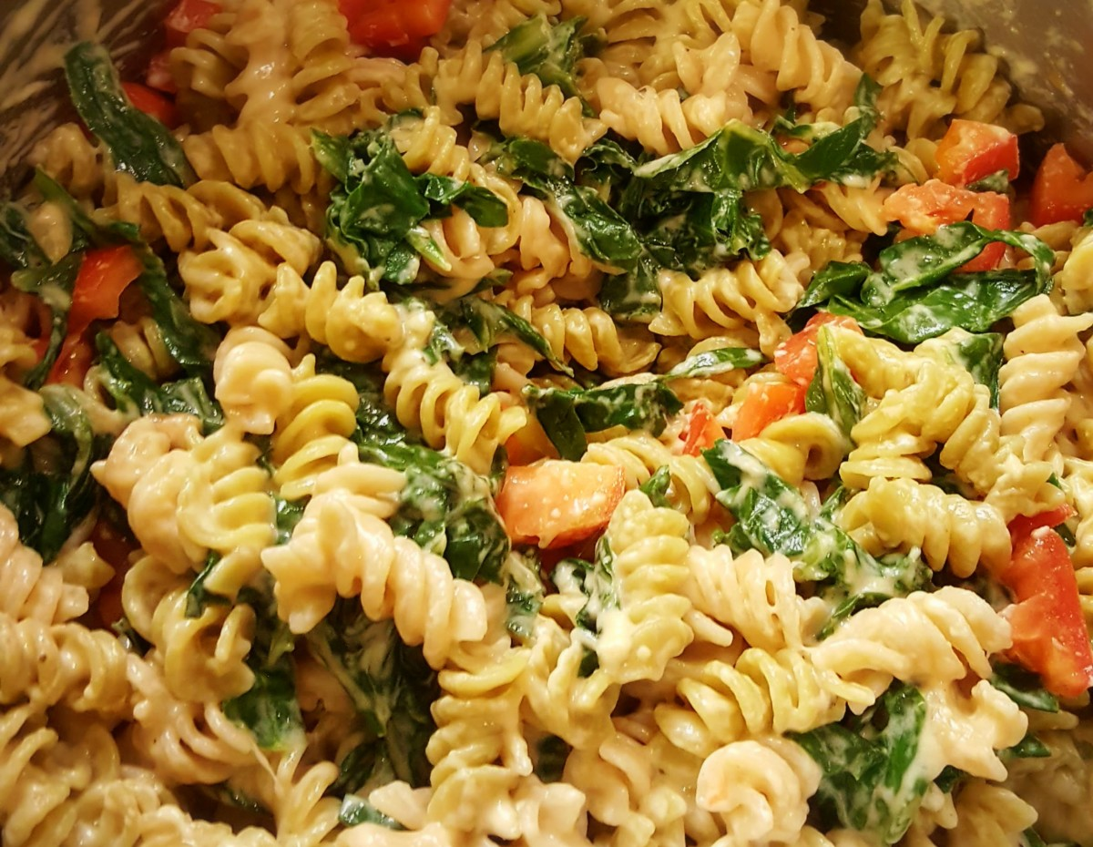 Mac & Cheese with Chard and Tomatoes