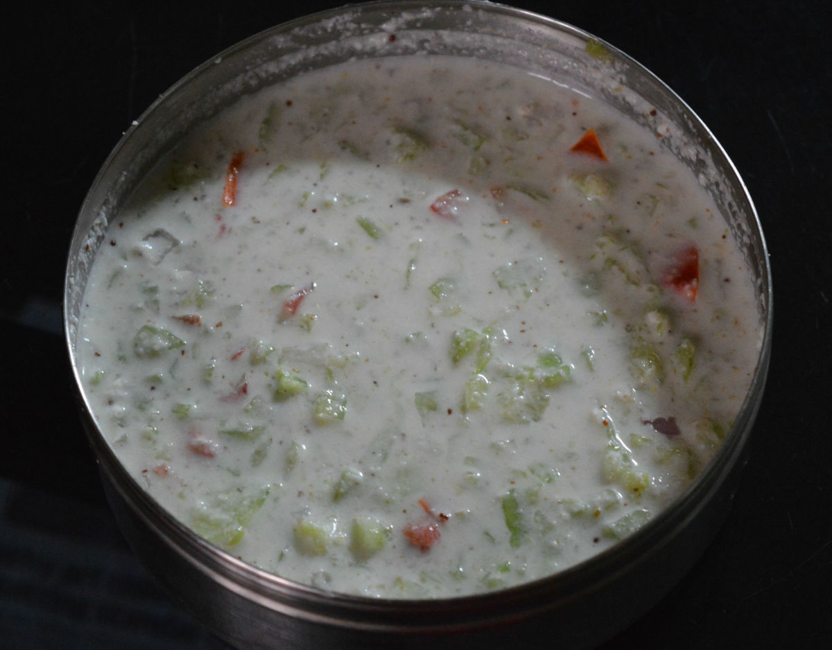 Raita made using ground coconut