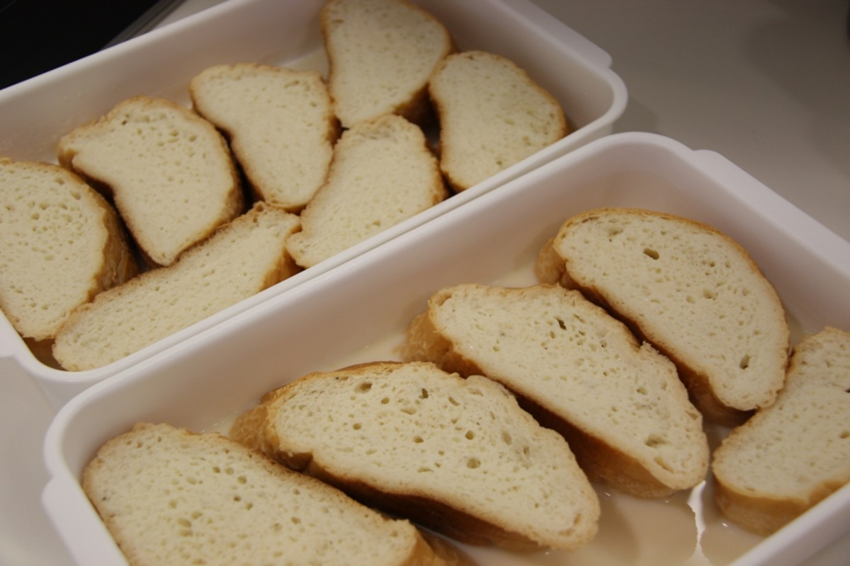 Bread slices laid out for soaking
