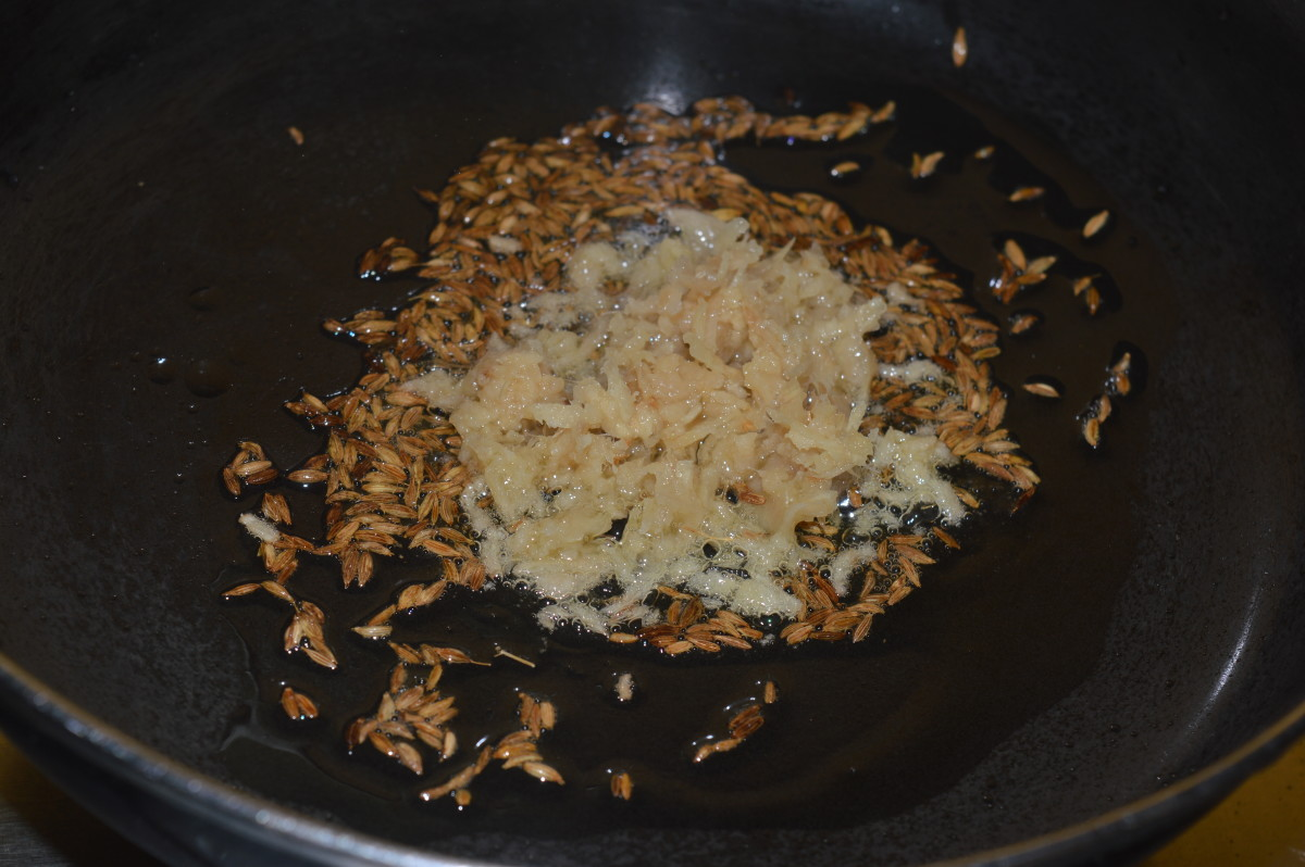 Step two: Saute cumin seeds and grated ginger