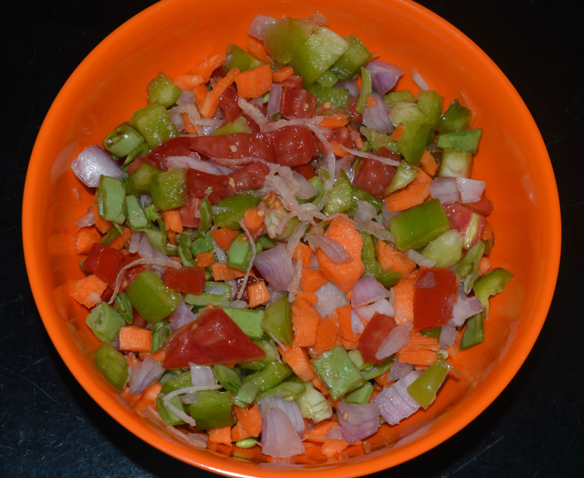 Mixed vegetables for topping the pancakes