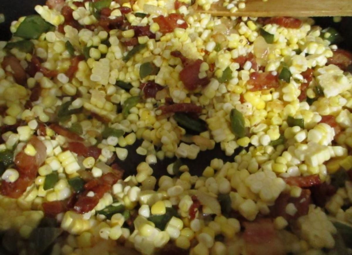 stir all the ingredients together and make sure the corn is coated with the bacon grease