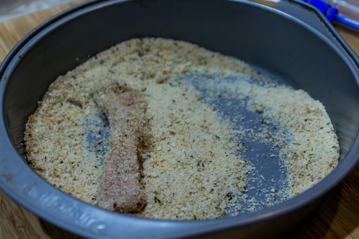 You can use regular crumbs, panko crumbs, packet of 'Old El Paso Crispy Chicken' crumb or herb crumb - maybe do a mix of two!