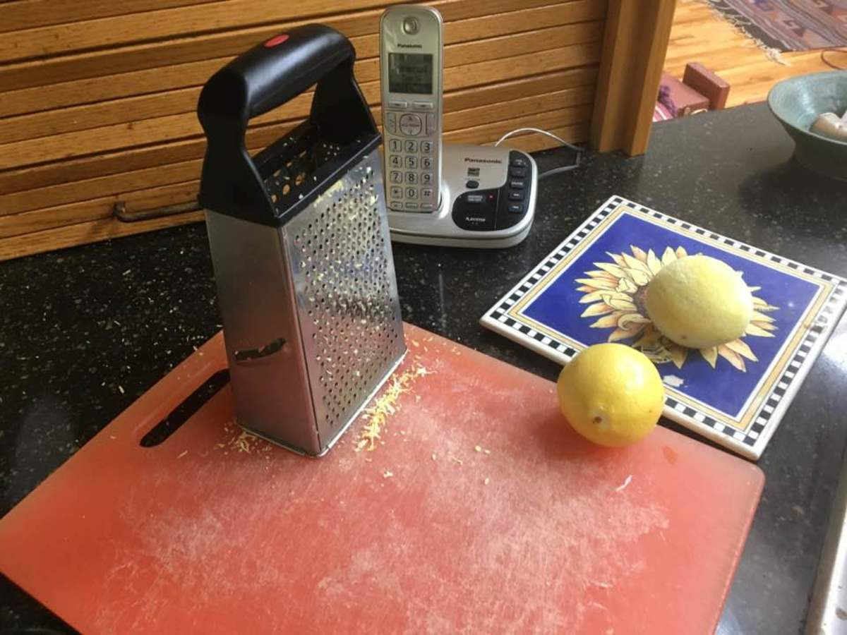Grated lemon zest.