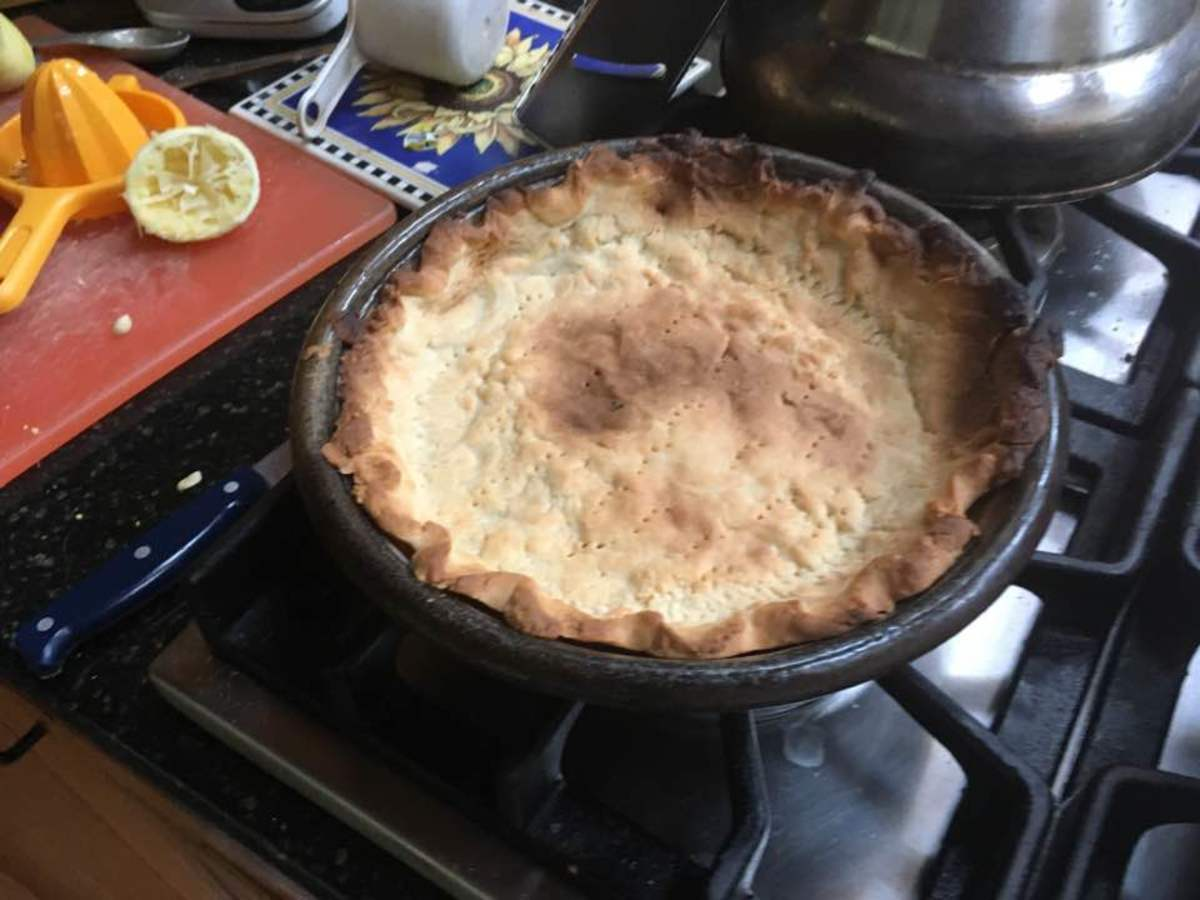 The pie crust, once finished.