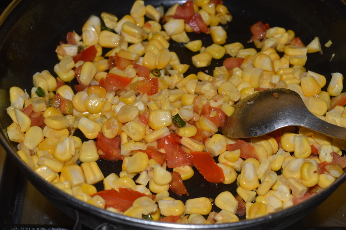 Step four: Add sweet corn kernels. Stir-cook on high flame for 2-3 minutes. Sprinkle a few drops of water, if needed.