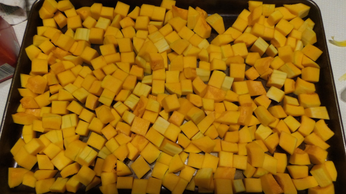 Cut the butternut squash into about 1 inch cubes. Spread out into a single layer on a baking sheet.