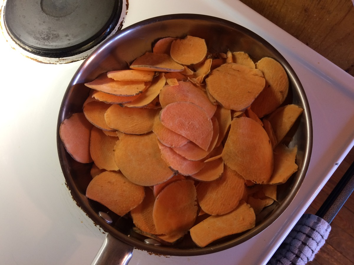 Cooking the sweet potatoes until they're fork-tender.