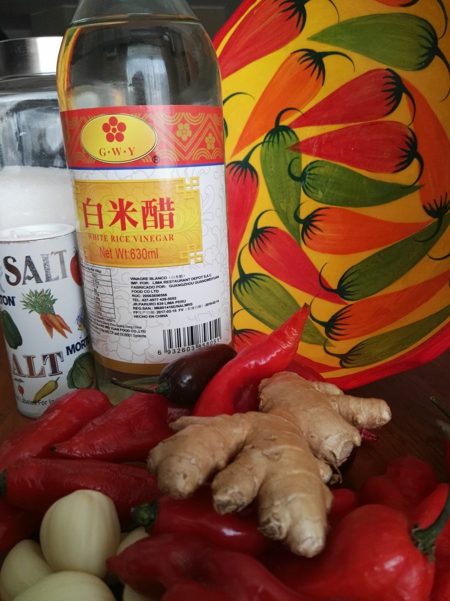 Ingredients for Thai sweet chilli sauce