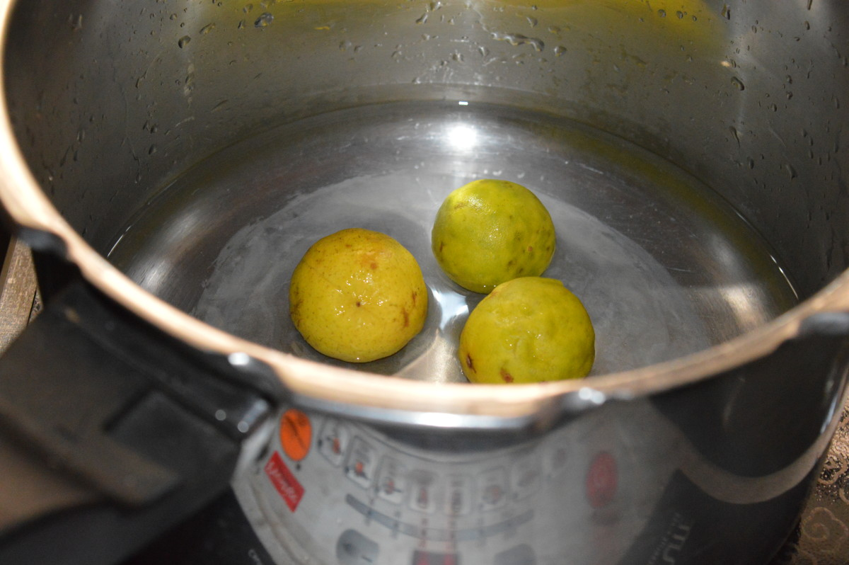 Step one: Pressure cook the lemons up to 4 whistles