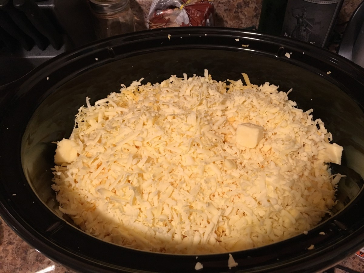 This is cheese number two, that crockpot is already looking full.