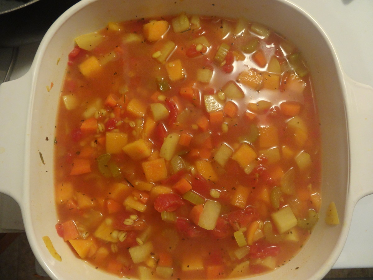 Reduce to a simmer. Add the barley and squash. Continue to simmer for 10 minutes.