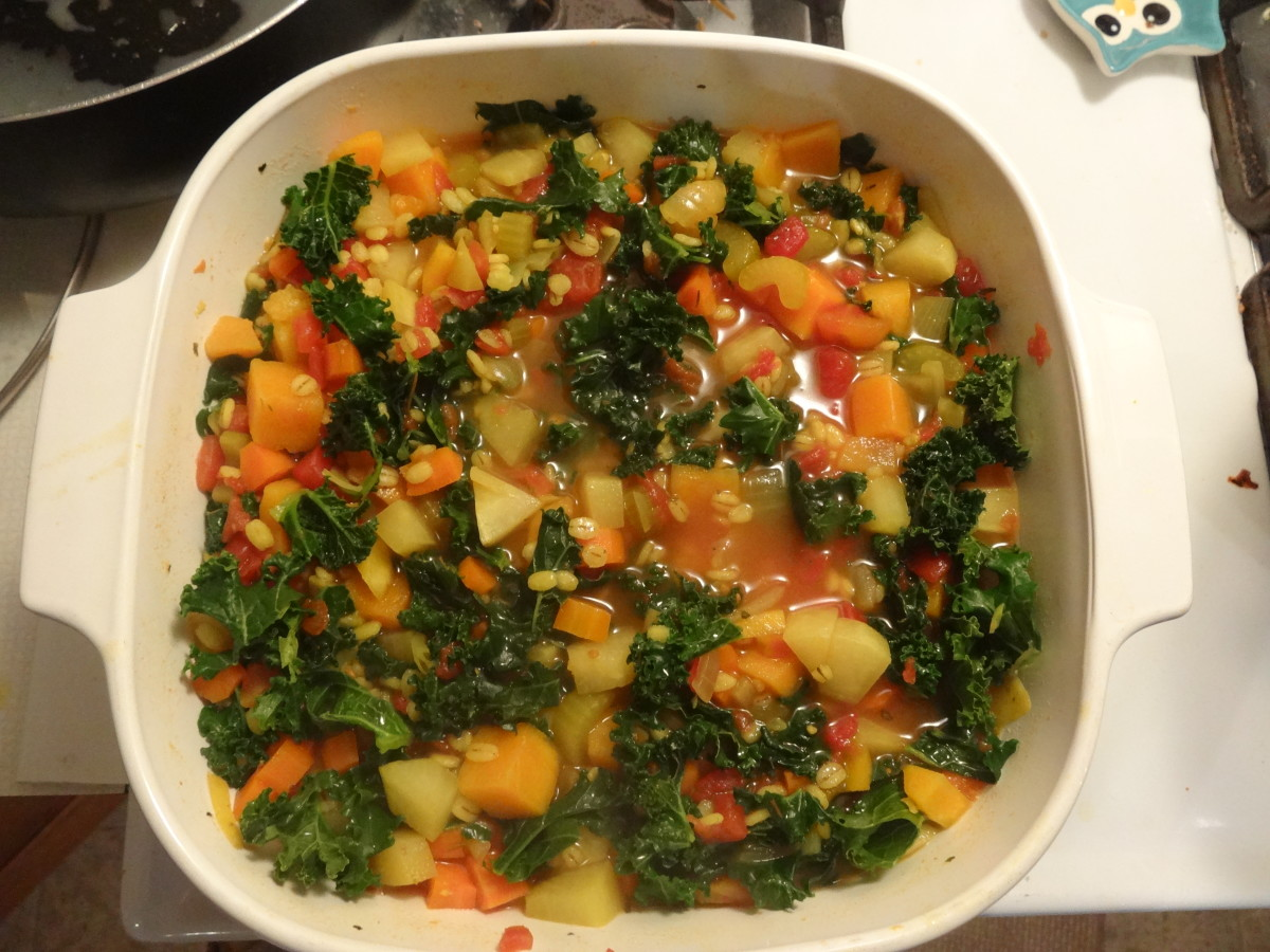 Stir in kale and simmer until it starts to wilt (about 3-5 minutes).