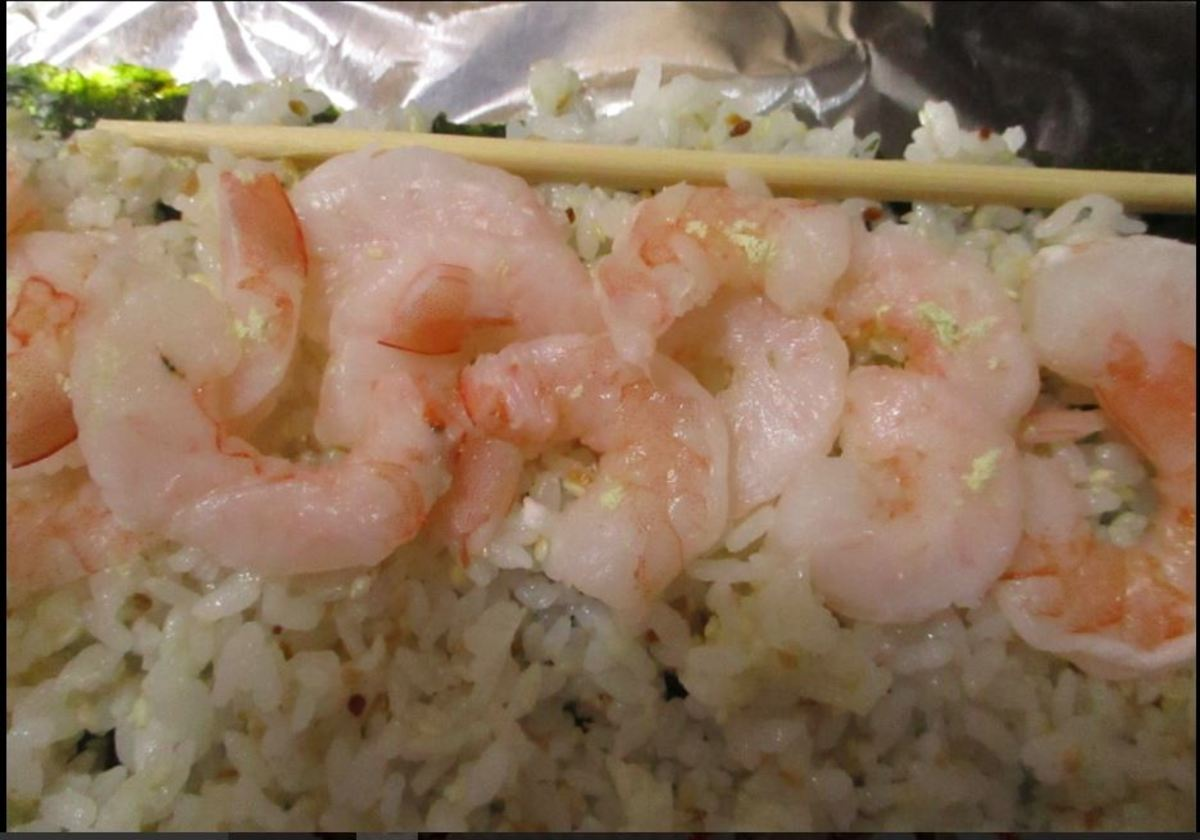 sprinkle wasabi powder on shrimp
