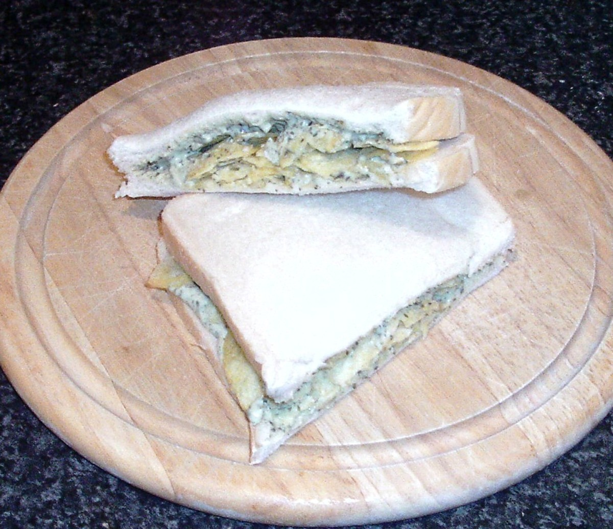 Mint sauce infused houmous and salt and vinegar crisps sandwich