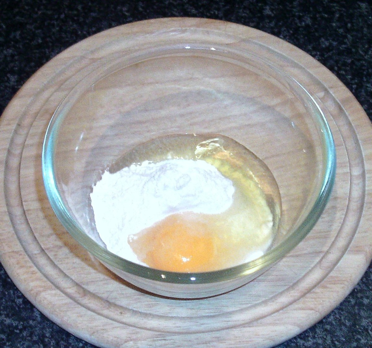 Batter ingredients are added to small bowl