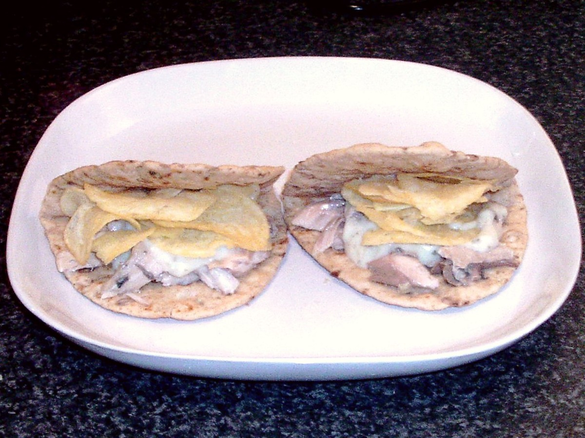 Pickled mackerel, horseradish sauce and salt and vinegar crisp folded flatbreads