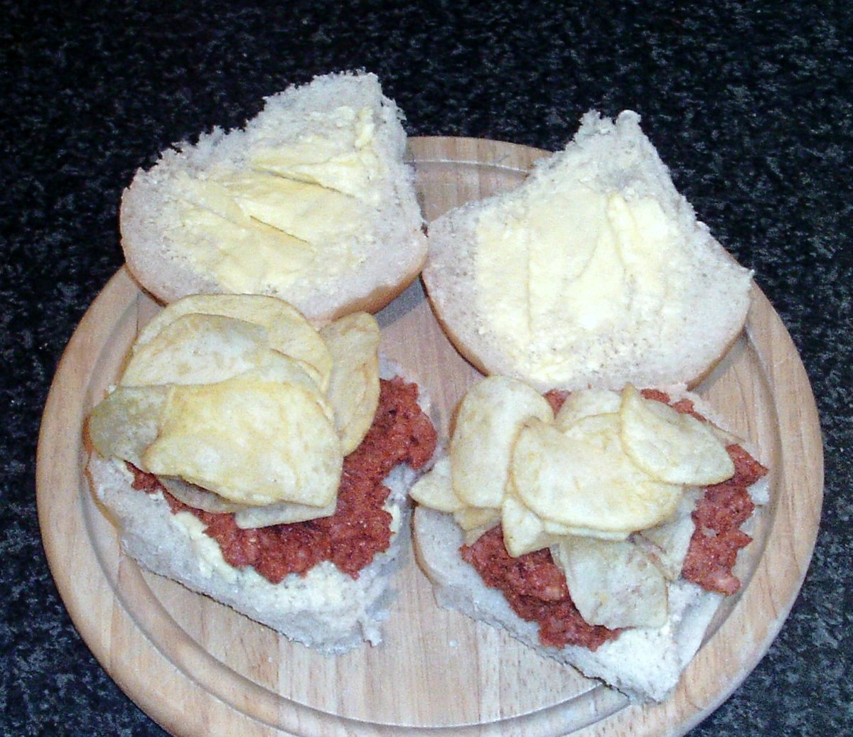 Salt and vinegar crisps on spicy tomato corned beef