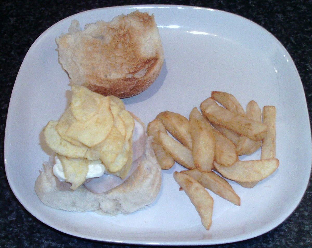 Salt and vinegar crisps on pickled chicken and mayo
