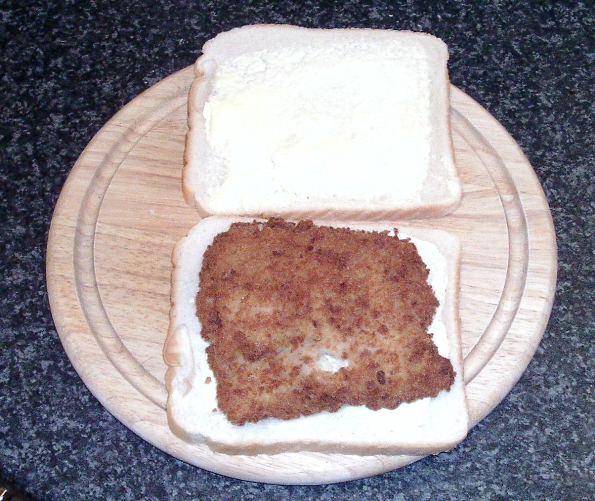 Cod fillet on bread